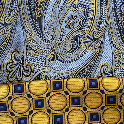 Ted McKenzie-Custom Bespoke Italian Silk Necktie Fabric-French Blue, Navy, Antique Gold Paisley.