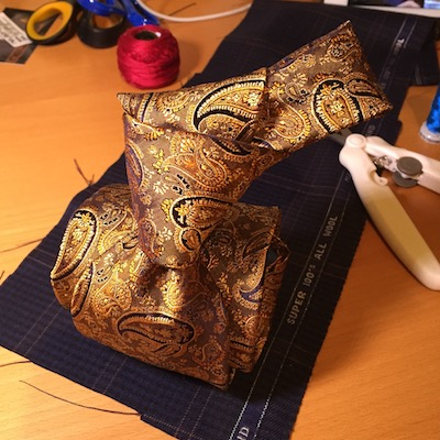 Ted McKenzie-Custom Bespoke Italian Silk Necktie Fabric-Ancient Gold, Navy, Silver Paisley.